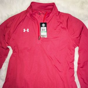 Under Armour Red/Gray 1/4 zip up men's shirt Lg